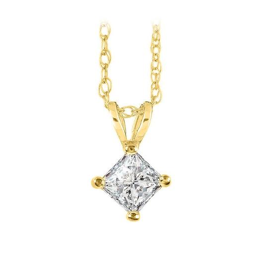 Preload https://item1.tradesy.com/images/yellow-yellow-gold-princess-cut-diamond-solitaire-pendant-with-free-chain-necklace-22470570-0-0.jpg?width=440&height=440