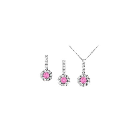 Preload https://item1.tradesy.com/images/white-silver-pink-sapphire-with-cz-halo-earrings-and-pendant-925-sterling-necklace-22470575-0-0.jpg?width=440&height=440