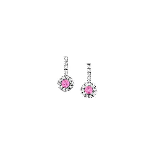 Veronica V. Pink Sapphire with CZ Halo Earrings and Pendant 925 Sterling Silver
