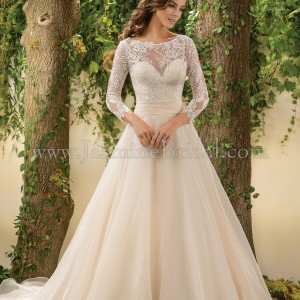 Jasmine Bridal Ivory Lace & Ivory Organza Chantilly Doubled-faced F181005 Traditional Wedding Dress Size 6 (S)