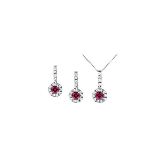 Preload https://img-static.tradesy.com/item/22470607/white-silver-red-ruby-with-cz-halo-earrings-and-pendant-in-925-sterling-necklace-0-0-540-540.jpg