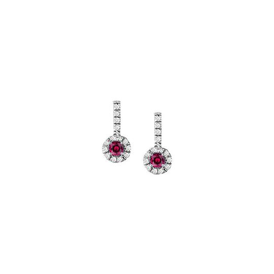 Veronica V. Ruby with CZ Halo Earrings and Pendant in 925 Sterling Silver
