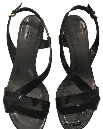 Gucci Black Patent Leather Sandals