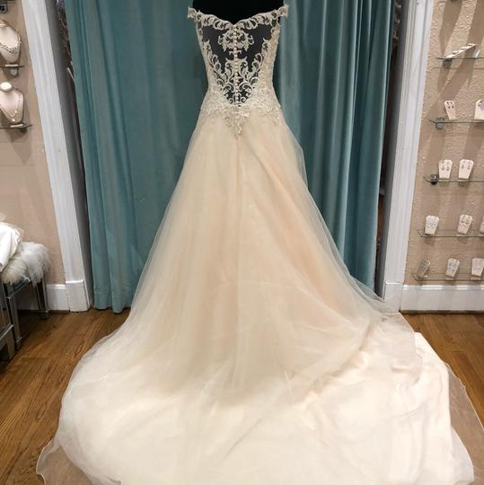 Jasmine Bridal Ivory/Gold Embroidered Lace & Organza F191060 Traditional Wedding Dress Size 8 (M)