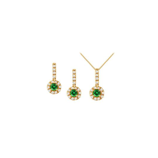 Veronica V. Emerald with CZ Halo Earrings and Pendant in 18K Yellow Gold Vermeil