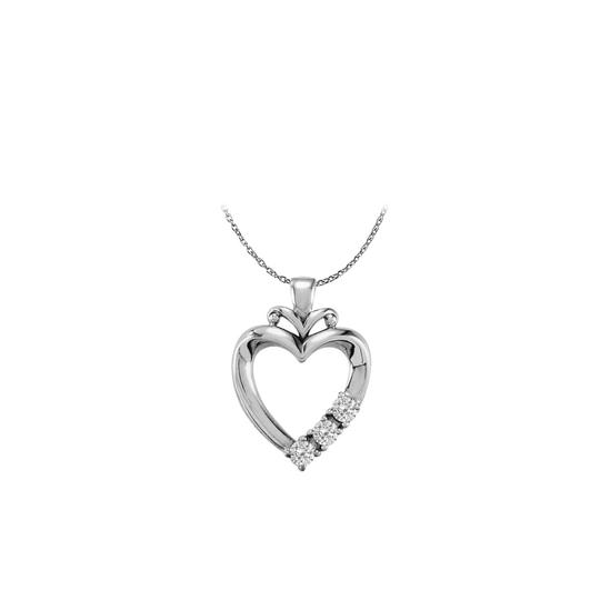 Marco B 925 Sterling Silver Three Stone CZ Family Heart Pendant