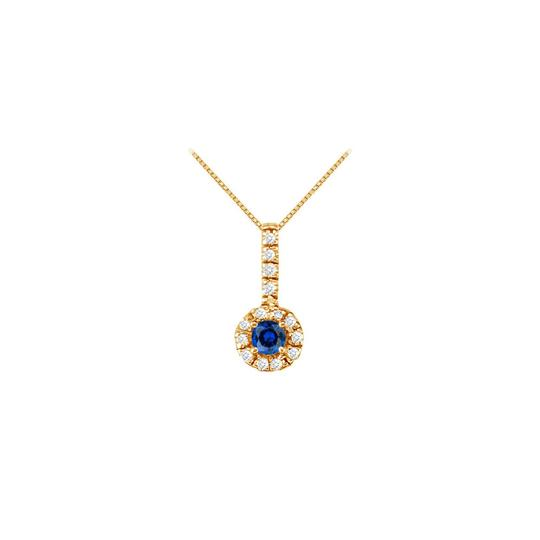 Veronica V. Sapphire with CZ Halo Earrings and Pendant in 18K Yellow Gold Vermeil