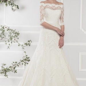 Ivory Alencon Lace Over Satin 11418 Traditional Wedding Dress Size 18 (XL, Plus 0x)