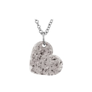 Marco B 16X14 925 Silver Hand Crafted Hammered Heart Pendant