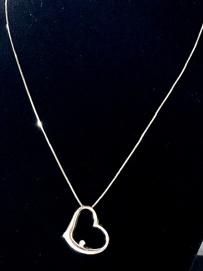 Baron and Leed's 18k Solid White Gold Diamond Floating Heart 16 inch Chain Necklace