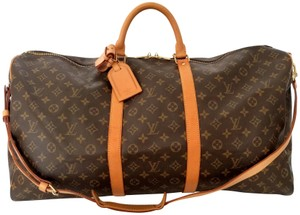 Louis Vuitton Keepall Duffle Bandouliere Strap Carryon Brown Travel Bag