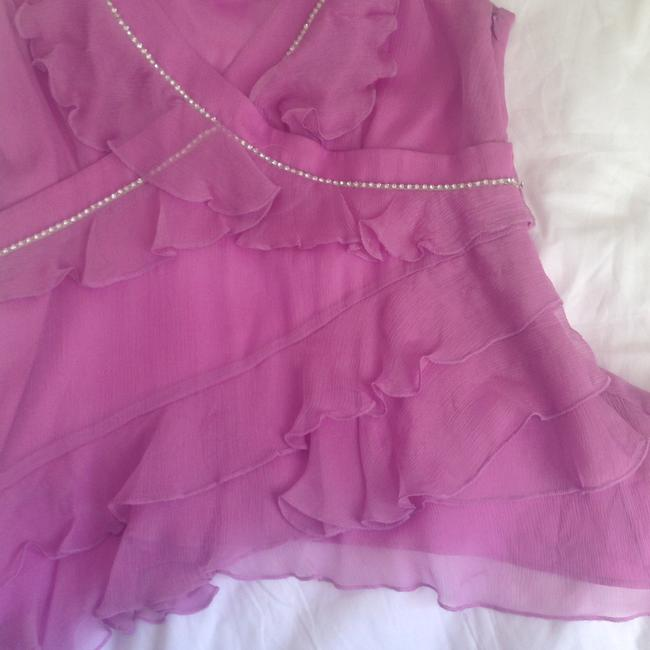 Laundry by Shelli Segal Silk Party Rhinstones Top PINK