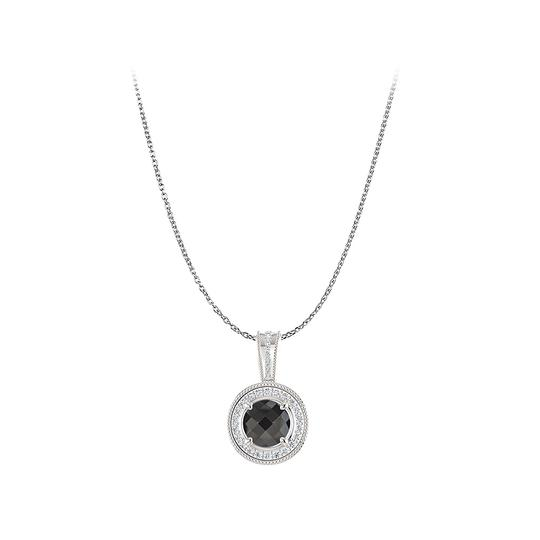 Preload https://img-static.tradesy.com/item/22470851/black-silver-amazing-onyx-cz-halo-pendant-925-sterling-necklace-0-0-540-540.jpg