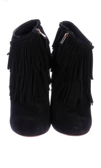 Brian Atwood Fringe Ankle High Heel Chunky Gold Black Boots