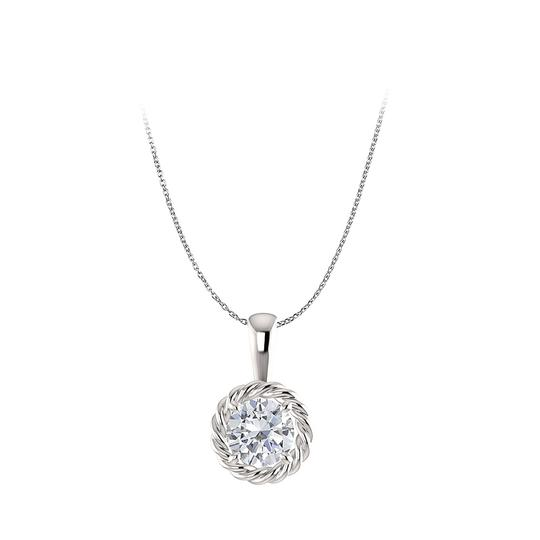 Preload https://item3.tradesy.com/images/white-silver-one-carat-cubic-zirconia-halo-pendant-in-925-necklace-22471002-0-0.jpg?width=440&height=440