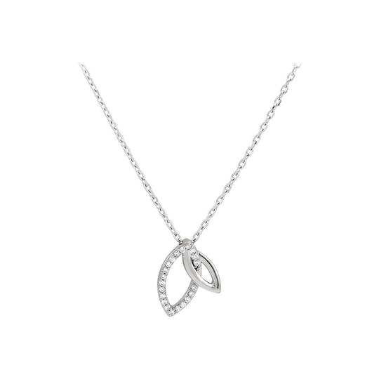 Preload https://item2.tradesy.com/images/white-silver-05-ct-cz-925-sterling-double-leaf-necklace-22471006-0-0.jpg?width=440&height=440