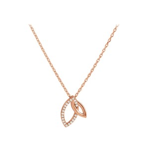 Marco B .05 CT CZ 14K Rose Gold Vermeil Double Leaf Necklace