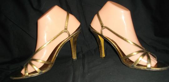 AK Anne Klein Strappy Casual High Heels Gold Sandals