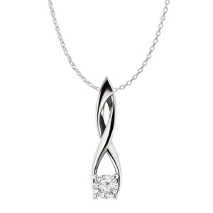 Marco B CZ Solitaire Freeform Fashion Pendant in 925 Silver
