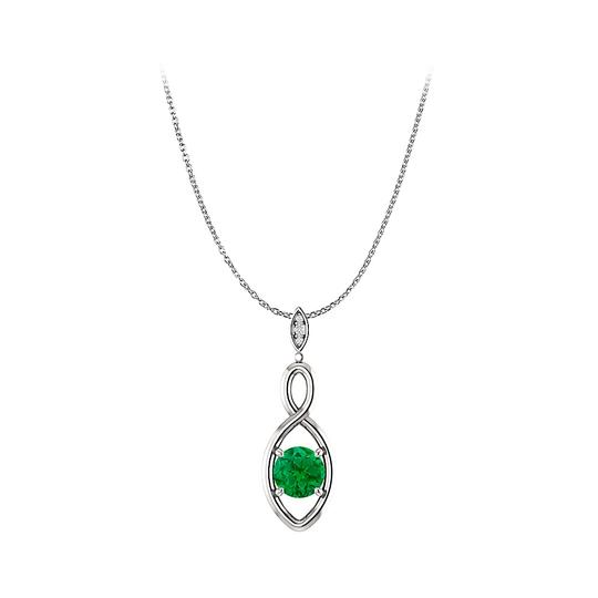 Preload https://img-static.tradesy.com/item/22471059/green-silver-round-emerald-3-cubic-zirconia-infinity-pendant-necklace-0-0-540-540.jpg