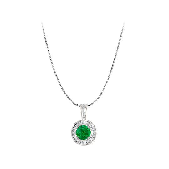 Preload https://img-static.tradesy.com/item/22471166/green-silver-stunning-emerald-and-cz-round-halo-pendant-in-necklace-0-0-540-540.jpg