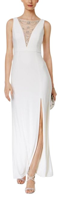 Preload https://item3.tradesy.com/images/adrianna-papell-white-embellished-mesh-slit-gown-maxi-medium-long-formal-dress-size-6-s-22471182-0-1.jpg?width=400&height=650