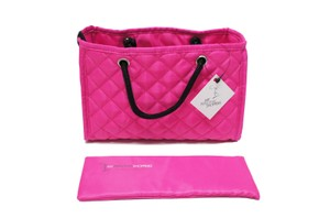 MPS Zoe Quilted Handbag Organizer Medium Insert for Hermes Bag, Fuchsia