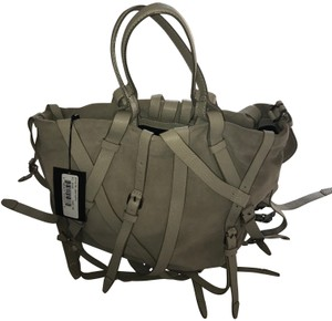 Alexander Wang Leather Suede Strappy Khaki Tote in grey