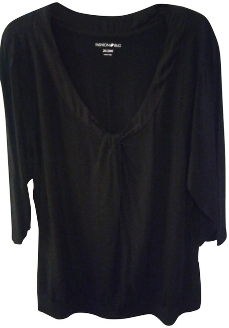 Preload https://item4.tradesy.com/images/fashion-bug-black-with-neckline-knot-blouse-size-26-plus-3x-22471418-0-1.jpg?width=400&height=650