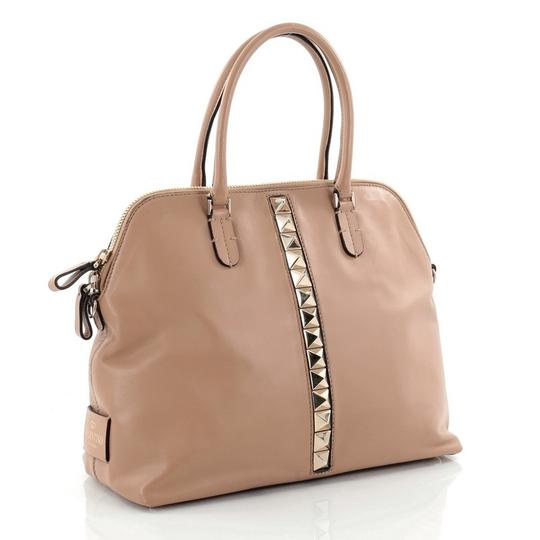 Valentino Va Voom Leather Studded Satchel in Brown