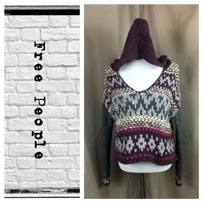 Preload https://item4.tradesy.com/images/free-people-purplegraywhite-knit-hooded-cropped-sweaterpullover-size-6-s-22471438-0-0.jpg?width=400&height=650