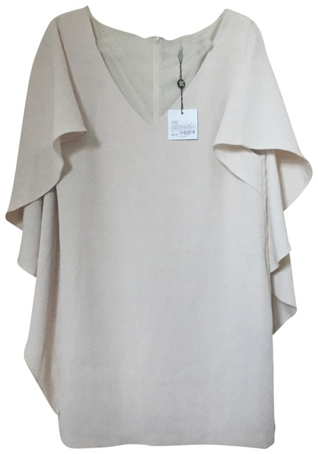 Item - Sycamore Cream Beige Off-white Talene Crepe Cascade Sleeve In Short Cocktail Dress Size 8 (M)