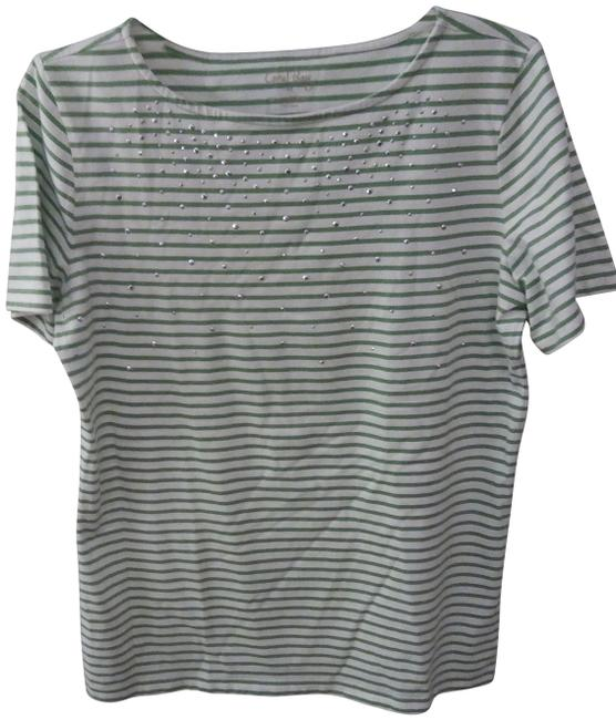 Preload https://img-static.tradesy.com/item/22471471/coral-bay-white-wgreen-lines-and-silver-specs-ladies-tee-shirt-size-10-m-0-1-650-650.jpg
