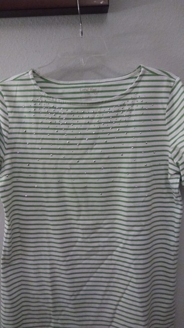 Coral Bay T Shirt White w/green lines & silver specs