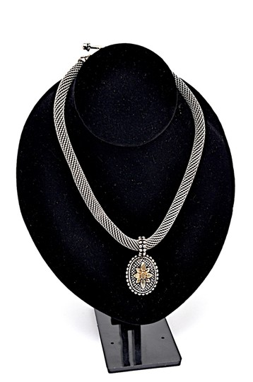 Stephen Dweck STEPHEN DWECK Sterling Silver 'Intagalo' Gold Flower Necklace With 18K