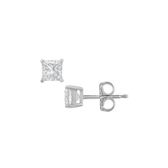 Veronica V. Sterling Silver Princess Cubic Zirconia Stud Earrings 1.00 CT. TGW.