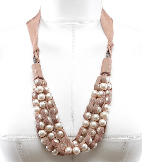 Lanvin Pearl Necklace: Lanvin Nude/Brown White Silver Pearl Faux Ribbon Grosgrain