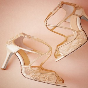 BHLDN Gold Bhldn's Bella Belle Gilt Lace Heels Formal Size US 9 Regular (M, B)