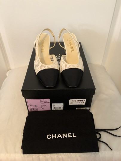 Chanel Coco Slingback Cc Black White Pumps
