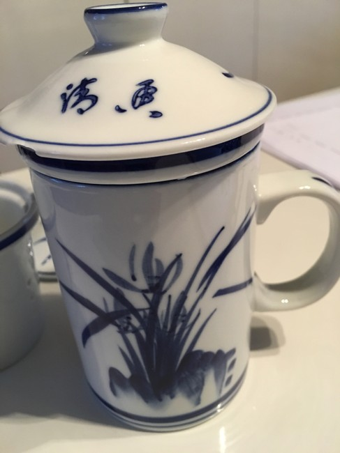 Item - Blue and White Personal Tea Cup with Removable Strainer To Use with Tea Leaves Or Cup Decoration
