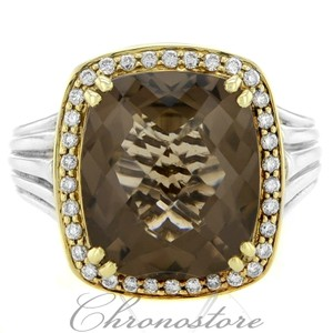 Charles Krypell Charles Krypell Gold & Silver Smoky Quartz And Diamond Ring (7327)