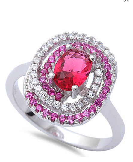 9.2.5 Beautiful 925 silver ruby and topaz cocktail ring size 7