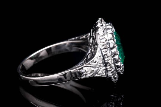 Vintage Art Deco Forest Green Emerald and Diamond Ring in Platinum