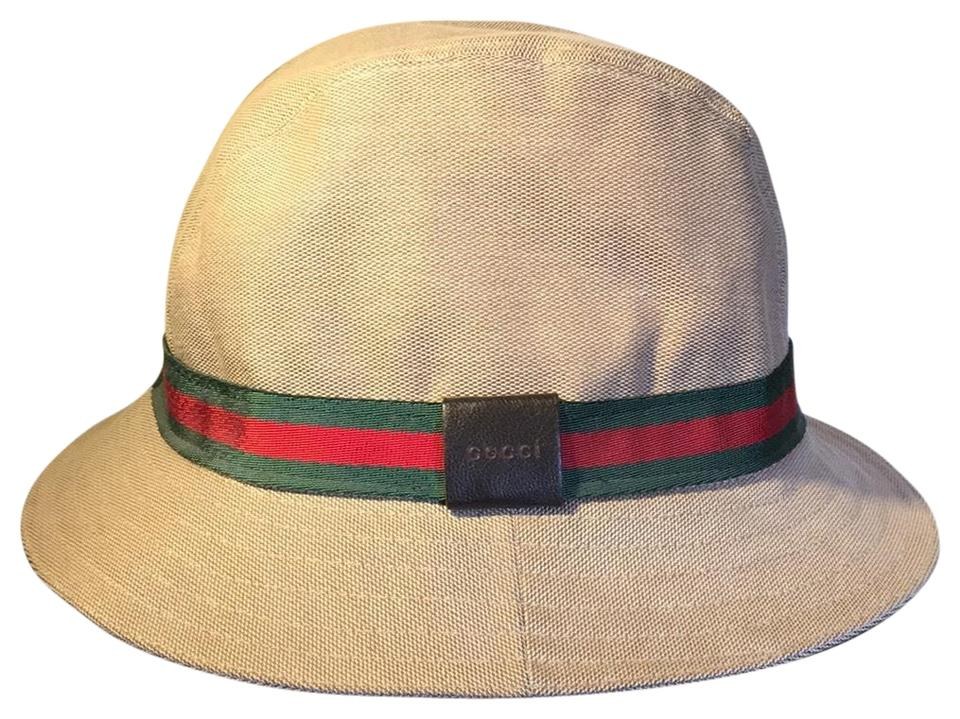 37cb3975bee71 Gucci Beige Green Red Green Bucket Fedora Hat - Tradesy