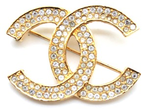 Chanel #15271 Timeless CC crystals gold hardware brooch pin charm