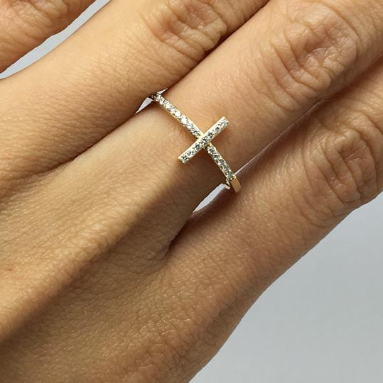 Other 14K Yellow Gold Natural Genuine Diamond Cross Style Ring