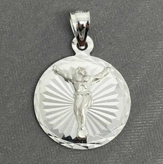 Other 14K White Gold Round Jesus Pendant