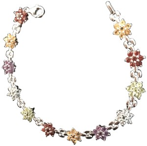 Other Multi-gemstone Sterling Silver .925 Flower Blossom Bracelet