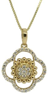 Other 14K Yellow Gold Natural Genuine Diamond Flower Style Pendant