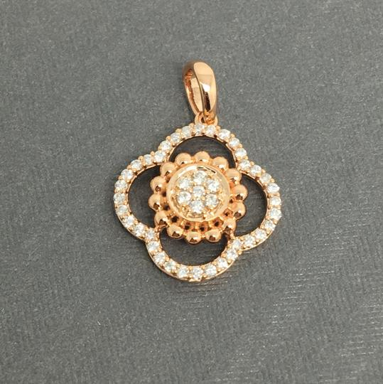 Other 14K Rose Gold Natural Genuine Diamond Flower Style Pendant